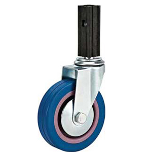 Light to Medium Duty Caster Blue Rubber wheel with Square
